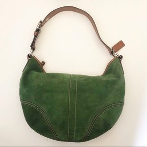 Coach Green Suede Handbag